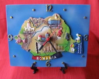 Romania heavy colorful souvenir desk clock
