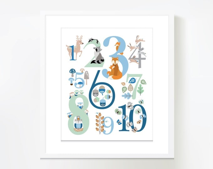 123 Wall Art, Woodland theme,  - Instant Download, blue mint and grey