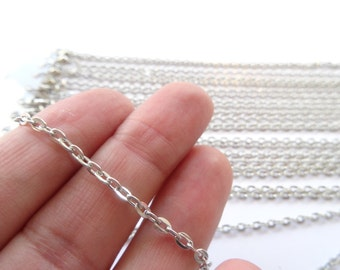 "12 Lobster Clasp Link Chain Necklaces 18"" Silver Tone - CHN25S"