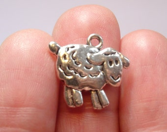 BULK 50 Sheep Charms Antique Silver 18mm x 16mm - BULK92