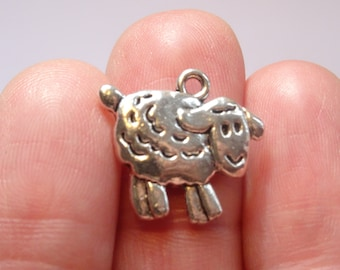 8 Sheep Charms Antique Silver 18mm x 16mm - SC136