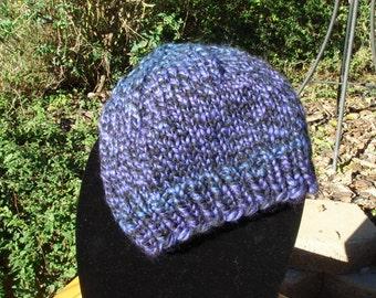 "Knit Hat, Purple Blue Black, Slouchy Style, Men, Women or Teen, Boy, Girl  20"" Around before stretch"