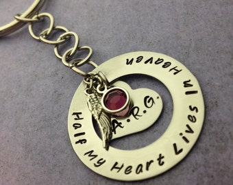 Half My Heart Lives In Heaven Personalized Stainless Steel Key Chain, Sterling Silver Angel Wing, Swarovski Birthstone-Remembrance Jewelry