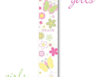 Girls Canvas Height Chart Personalized