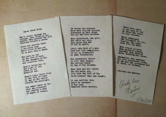 Poetry Poems Salem Witch Trial Poem Hand Typed onto Handmade Paper Etsy Poets Poetry Art by Christy Ann Martine