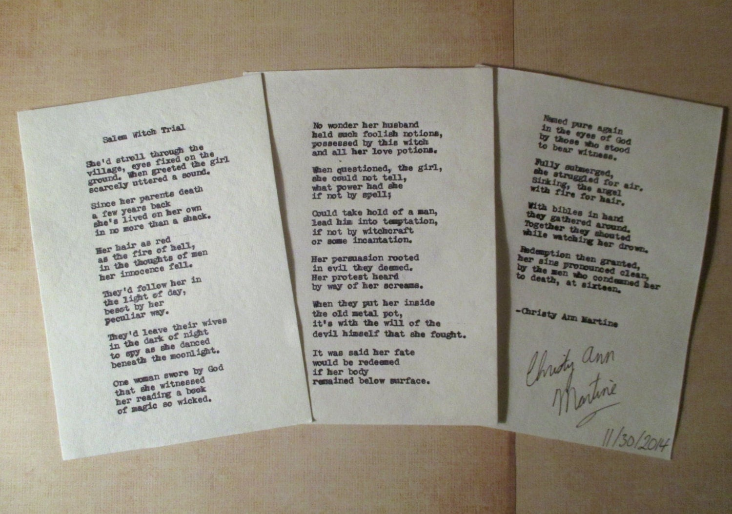 poetry poems m witch trial poem hand typed onto handmade paper  poetry poems m witch trial poem hand typed onto handmade paper poets poetry art by christy ann martine