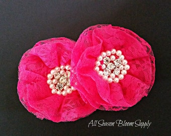 "Hot Pink Lace Flowers, Beaded Lace Chiffon Flower, Fabric Flower, Pearl Rhinestone Flowers, Rosettes, Headband, Supplies, DIY, 3.3""-3.5"""