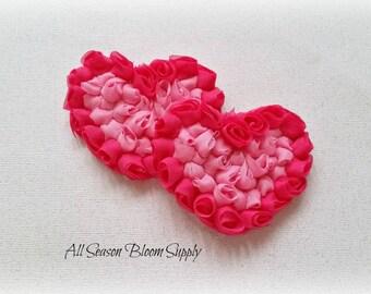 """Hot Pink/Pink Chiffon Roses Hearts - Chiffon Hearts - Shabby Roses Hearts - Valentine's Day - DIY- Headband - Hair Accessory - 3x2"""""""