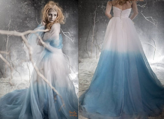 Frozen ombre blue wedding dress with crystal detail couture for Blue green wedding dress