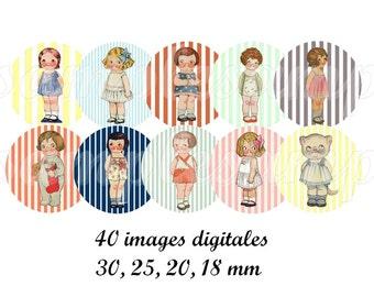 Digital collage sheet dolly dingle, Digital images doll one inch circle design for pendant, bottle  caps, scrapbooking, instant download