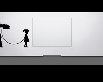 Girl and Star Wars Walker At At  Macbook Trackpad Decal / Macbook Sticker