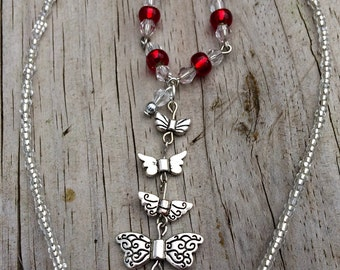 Silver wings with swarovski necklace