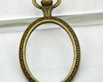 5 pcs of Antique Bronze Oval Base Pendants 30x40mm ----G1246