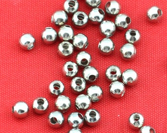 4mm- Spacer Beads -200pcs Silver Plated Round Ornate Beads Jewelry Findings ---G1552-1