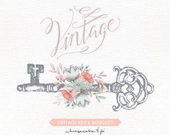 Vintage key with floral bouquet clipart / Wedding invitation clip art graphics / commercial use / rustic / antique / CM0062b
