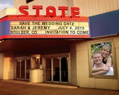 Movie Theater Marquee Personalized Save The Date Names Photograph Invitation Photo Sign Announcement pp50