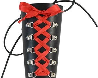 Ladies Gothic Leather Bracer - Gothic Leather Cuff - Corset Cuff - #DK6086