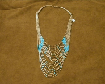 RESERVED FOR MONICA Sterling Silver Liquid Silver Necklace with Turquoise Beads