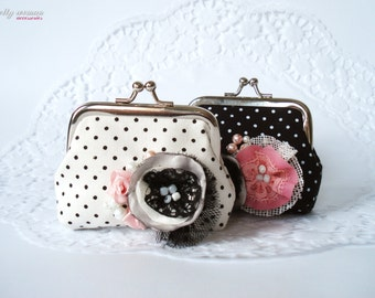 Black or White coin purse/Handmade Ear Bud Case/Ear Bud Holder/Polka dots coin purse/Hand decorated coin purse/Romantic small clutch