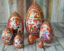 Hand Painted Easter egg, wooden egg decorated russian ornaments. Stacking Easter egg. 7 pcs