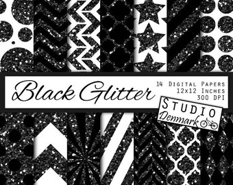 Black Glitter Patterns Digital Paper - Halloween Sparkle Chevron Stripes Polka Dots Stars Geometric Sunburst Harlequin - Instant Download