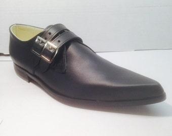 2 Strap Winklepicker Shoes in Black Leather