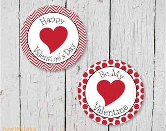 Valentine's Day Red Deco Dots - Printable Stickers, Cupcake Toppers or Decorations