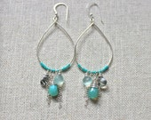 KAI Mint - Silver chandelier gemstone earrings, peruvian opal silver earrings, aqua mint dangle silver hoop earrings, aquamarine earrings