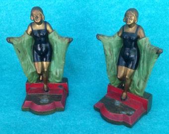 Bookends Bathing Beauty Flapper Girl Pair Art Deco 514 Pot Metal