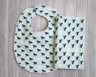Horse Bib and Burp Cloth Set - Baby Boy Minky Dot Bib and Burp Cloth Set - Light Blue with Navy and White Horses Horse Print