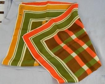 Vintage Scarf - Vera Neumann, Lucky Ladybug, Orange/Green Plaid, Silk