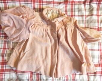 Vintage Pink Baby Coat and Bonnet Set