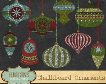 Chalkboard Christmas Ornaments Clipart Ornaments, Chalkboard Christmas, ornament clipart christmas clip art, digital chalk