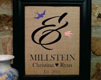 Ampersand Mr. and Mrs. Burlap Print - Ampersand Sign, Ampersand Wedding, Ampersand Burlap Print, Names and Est. Date print, Sign (amp201)