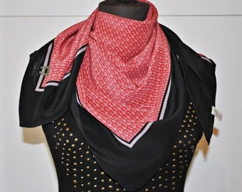 Vintage AIGNER Silk Scarf - Square Scarf - Red and Black scarf - Aigner logo print scarf