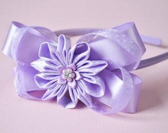 Wonderful Violet Bow Headband with Kanzashi Flower