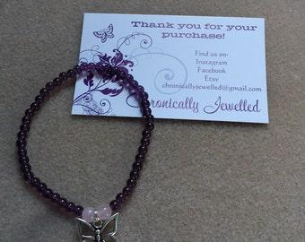 Amethyst and Rose Quartz Butterfly Bracelet