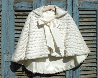 Luxury Faux Fur Sequin, Hooded Cape for Toddler Girls