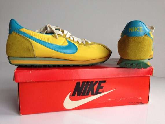 Rare Women 9 Vintage Nike Yellow Blue Waffle Trainer1970s