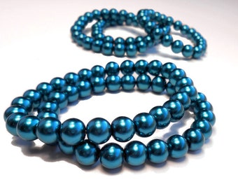 8mm Teal Wholesale Bracelets - Lot of 10 Handmade Pearl Stretch Bracelets // Buy in Bulk & Save // Ready for Resale // Wholesale Jewelry