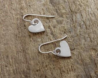 Silver Heart Earrings - Silver Heart Charm - Heart Charm Earrings - Sterling Silver Earrings - Fine Silver Hearts - Heart Drop Earrings