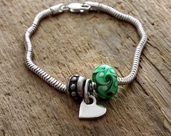 Heart Charm Bracelet - Bead Charm Bracelet - Glass Charm Bracelet - Charm Bracelet - Sterling Silver Bracelet - Silver Heart Bracelet