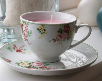 Charlotte scented vintage fine china tea cup candle, saucer and side plate, perfect gift for Christmas, a birthday or a Thank You gift