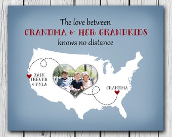 Christmas Gift For Grandma - Personalized Art, Grandmother Birthday Gift, Custom Map from Grandkids Print Photo Map Long Distance hanukkah
