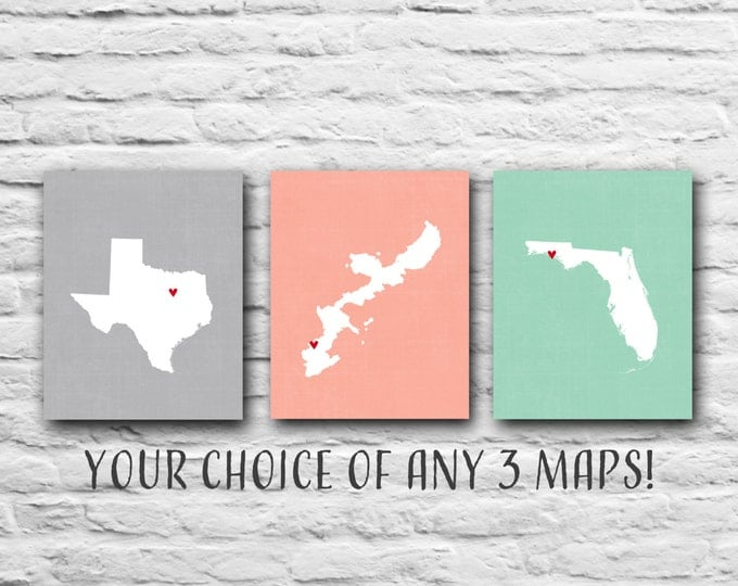 Set Of 3, You Choose, Three 8x10 State Maps, Valentines Gift Military Family Print, Where We've Lived, Family Gift - Okinawa, Texas, Florida