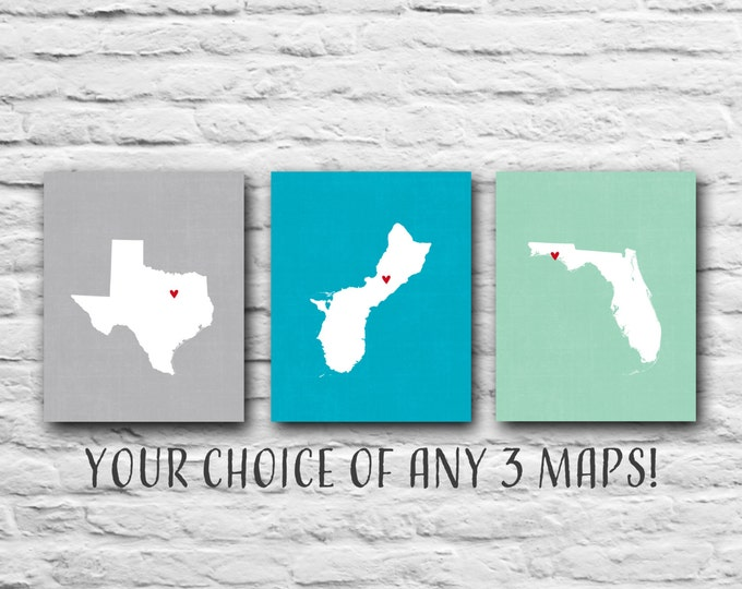 Gift for Best Friends - Three Prints, 8x10 States Maps, Gift for Family Personalized Map Military, Where We've Lived, Custom Friend Gift