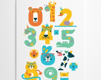 SALE! Animal Numbers poster for babies, toddlers kids / 11.5x16.5''