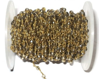 10 Feet Smoky Quartz Hydro Wire Wrapped Beaded Chain - Gold Plated Rosary Style Chain - GBC007