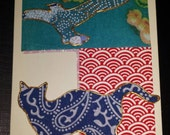 """Gift card """"cat and bird design"""" hand made with Japanese oragami paper, glitter glue and tactile gold paint. A6"""