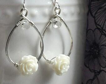 White Topaz Drop Earrings, White Rose Earrings, Bridesmaid Jewelry, Silver Flower Earrings